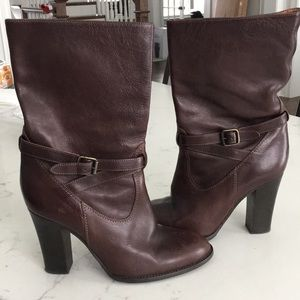 J Crew Mid rise Leather heeled boots